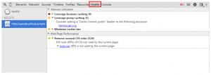 Google Elements, audits panelの画像