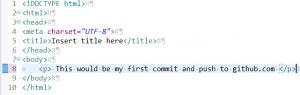 新規追加したHTMLファイルに内容を追加する画面の画像