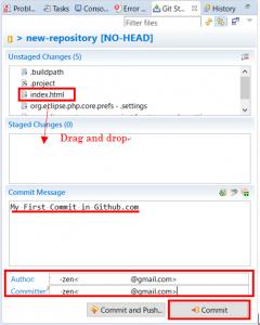 Commit messageやAuthor,Committerを入力する画面の画像