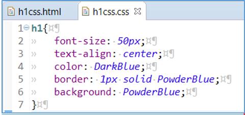 CSSファイルに見出しの色やサイズを指定した画像