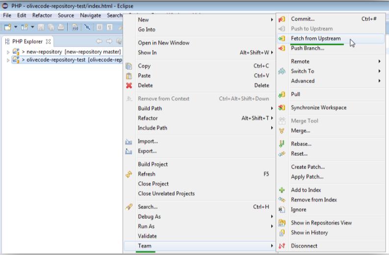 Eclipseの画面でProject nameの上で右クリックし、Team,Fetch from Upstreamへと進んだ画面