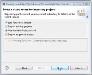 インポートするプロジェクトに使用するウィザードを選択する画面の画像
