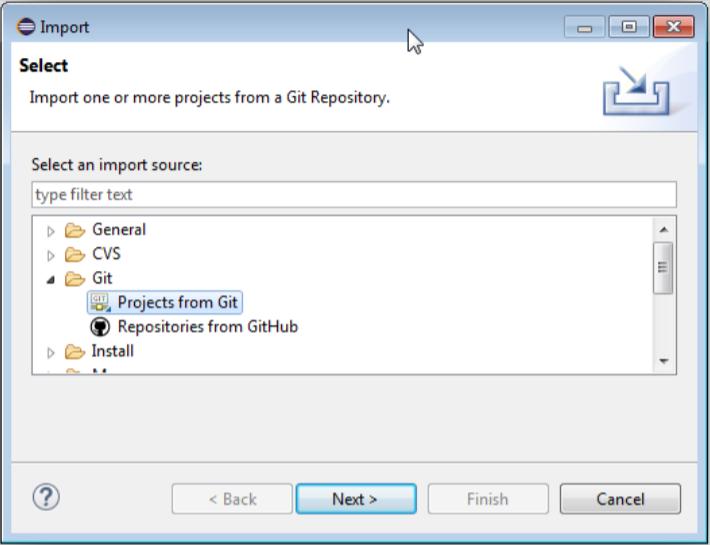EclipseのGitからProject from Gitへと進んだ画面