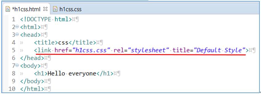 作成したCSSファイルをHTMLファイルに参照指示をかけた画像