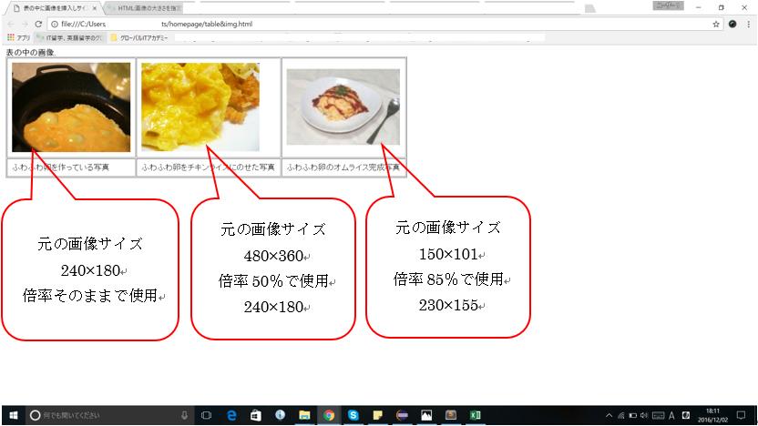 写真のサイズ変更後のホームページ画像