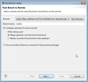 Push Brabchをクリックした後のPush to Remote画面の画像