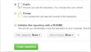 リポジトリの公開範囲をPublicに設定する画面