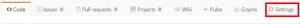 リポジトリのアクセス権設定で「settings」をクリックする画面