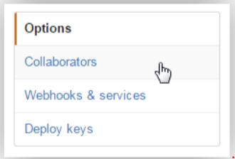 Githubアクセス権追加でCollaboratorsを選択する画面