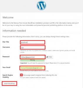 WordPress設定画面:サイト名、ユーザー名、パスワードの設定画面