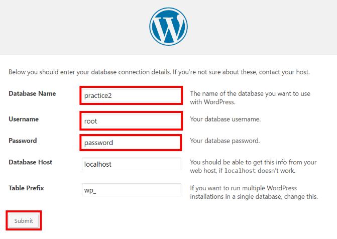 WordPress設定:サイト名、ユーザー名、パスワード入力画面