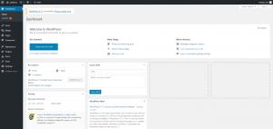 WordPress設定完了後ログインし、ダッシュボード画面をひらいた画像