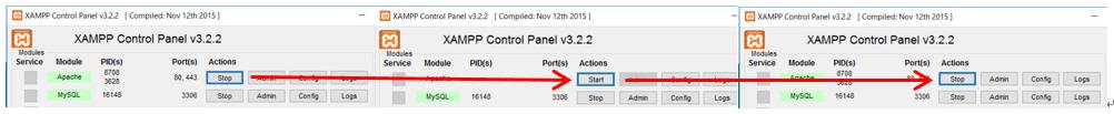 XAMPPのapacheをStopの状態からStartにして、またStopに戻すイメージ画像