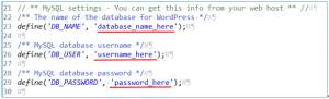 wp-config-sample.phpのデータベース名、ユーザー名、パスワード変更前の画面表示