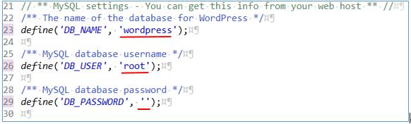 wp-config-sample.phpのデータベース名、ユーザー名、パスワード変更後の画面表示