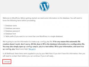 WordPress設定:Let's Goをクリックする画面